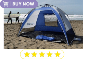 beach tent with surfers