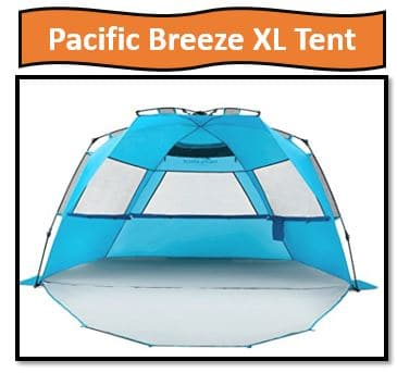 Pacific Breeze Easy Setup Beach Tent Deluxe XL - #1 On the Best Beach Tent List