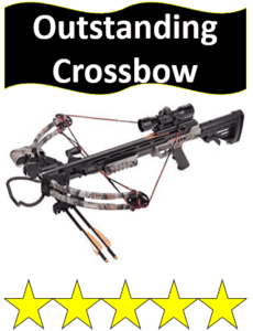 high end crossbow and 2 bolts