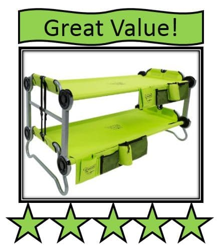 Disc-O-Bed Youth Kid-O-Bunk with Organizers - on list of best portable bunk bed