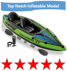 Green and blue inflatable kayak