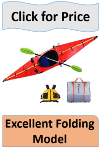 red folding kayak with paddle and bag