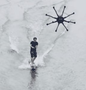 man drone surfing