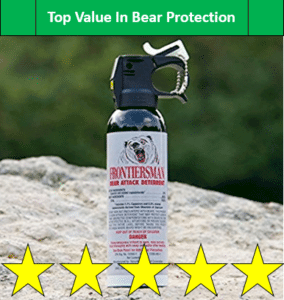 Frontiersman bear spray on rock