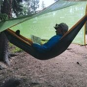 outdoor tarp and hammock
