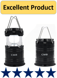 two black solar camping lanterns