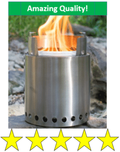 Fire burning in camp stove