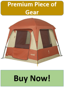 fed and tan four man tent with rain fly