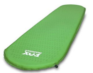 green inflatable camping pad