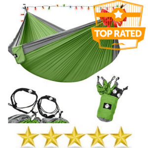 Green hammock and accessories