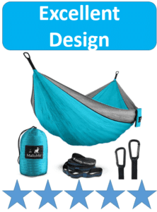 blue camping hammock with carabiners and straps