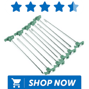 green topped tent pegs