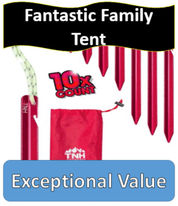 Red tent stakes & carrying bag
