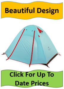 blue tent with red stripes