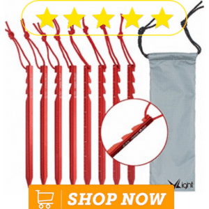 red tent stakes and pouch
