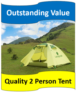 green tent on grassy hill