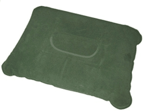 green inflatable camping pillow
