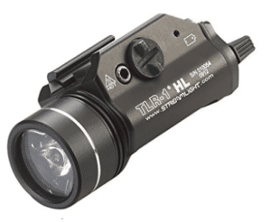 tactical flashlight attached to weapon mount