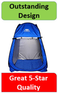 blue nylon changing room tent silver inside