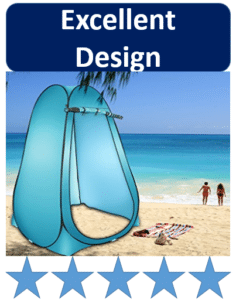 shower tent on beach by palm tree