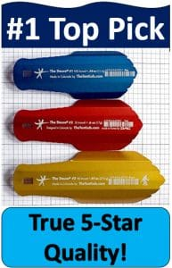 blue, red, yellow hiking trowels