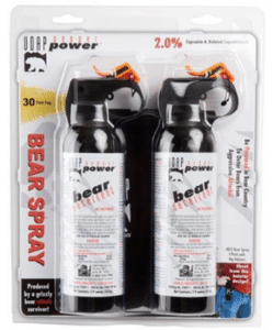 two cans bear spray in plastic container