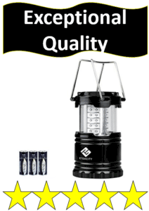black camping lantern and batteries