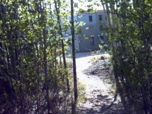 path through Alaska woods to building