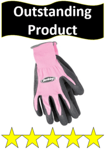gray and pink Berkley fishing gloves