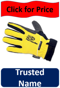 yellow Lindy fishing gloves