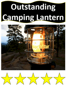 lit propane lantern in evening
