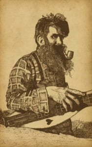 mountain man with pipe playing guitar