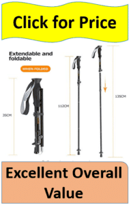 Trekking poles being compared