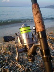 fishing rod with yellow line on shore
