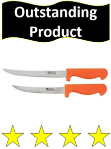 two orange handle fillet knives