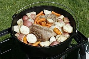Roast and sides in Dutch oven stew