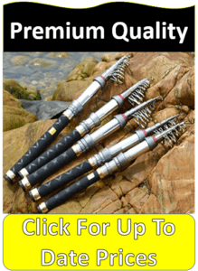 five telescopic poles on rocks by water