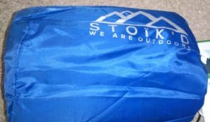 Stoikd inflatable mattress in blue bag