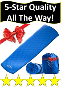 blue sleeping pad with red bow
