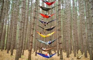 9 camping hammocks between 2 trees