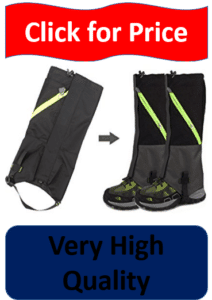 gray, black, and yellow gaiters on legs