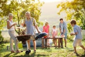 outdoor family picnic while camping