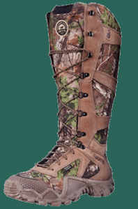 camo snake boot against green background