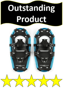 pair of black and blue snowshoes