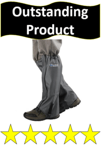 gray winter gaiters over shoes and sweatpants