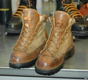 pair old worn leather boots