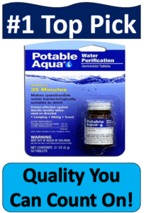 portable aqua water tablets in packaged bottle