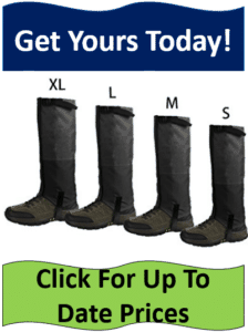 4 different boot gaiters lined up by size
