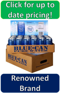 24 blue water cans on top of box