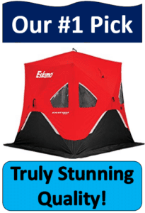 red and black tent ice fishing shelter